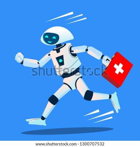 Robot Runs With A Medical Kit, Ambulance Vector. Isolated Illustration Stock photo © pikepicture