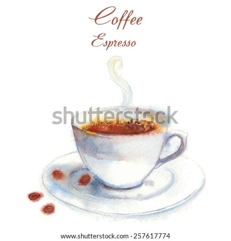 Coffee in the cup on table. Hand drawn watercolor breakfast. Coffee cup with sunglasses. stock photo © bonnie_cocos