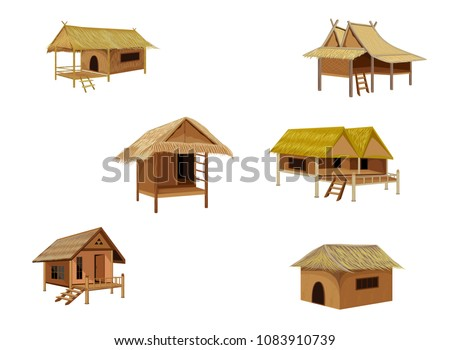 Wooden village hut isolated on white background. Vector cartoon close-up illustration. Stock photo © Lady-Luck