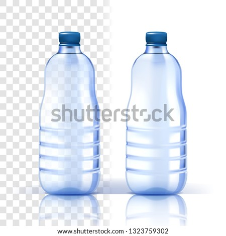 Plastic Bottle Vector. Mockup Purity. Bluer Classic Water Bottle With Cap. Container For Drink, Beve Stock photo © pikepicture