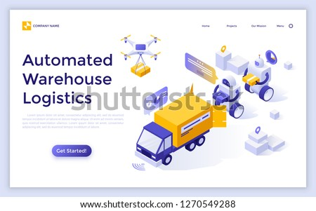 Drone delivery concept landing page. Stock photo © RAStudio