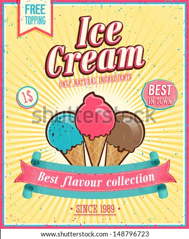 Vector chocolate ice cream poster in vintage style with typography elements stock photo © Giraffarte