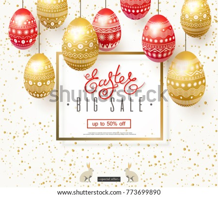 Easter Sale Illustration with Gold Painted Egg on Shiny Green Background. Vector Holiday Design Temp Stock photo © articular