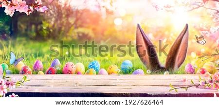 Páscoa cena ovos coloridos primavera azul flores Foto stock © neirfy