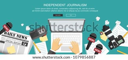 news and journalism concept independent journalism flat banner equipment for journalist on desk f stock photo © makyzz