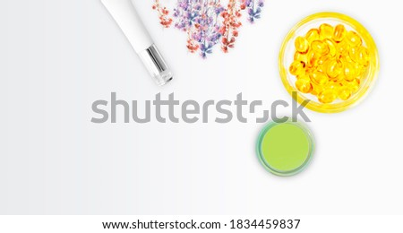Web banner Herbal Summer. Organic cosmetic products with natural ingredients and lavender, vector il Stock photo © ikopylov
