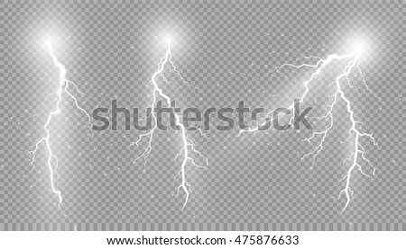Realistic lightnings with transparency for design. Thunder-storm and lightnings. Magic and bright li Stock photo © olehsvetiukha