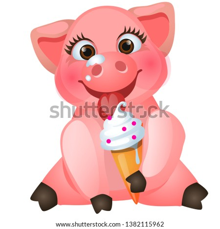 Cute animated pig eating sweet ice cream isolated on white background. Vector cartoon close-up illus Stock photo © Lady-Luck