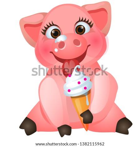 bonitinho · porco · alimentação · doce · sorvete · isolado - foto stock © Lady-Luck