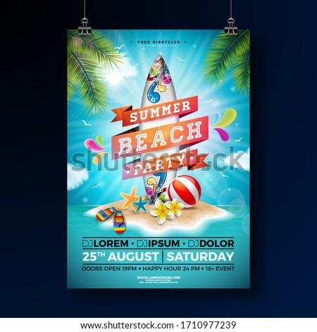 Summer Beach Party Flyer Design With Flower Beach Ball And Surf Board Vector Summer Nature Floral Stok fotoğraf © articular