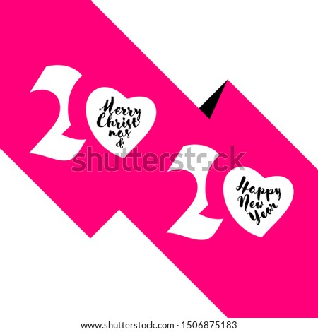 Elegant white numbers 2020 in shape of heart and Merry Christmas Stock photo © ussr