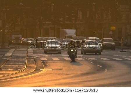 Autos Stau Morgen schwierig Stadt Straße Stock foto © lightpoet