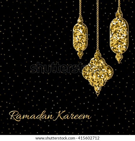 Ramadan Kareem background with gold handing shiny glitter glowing moon with stars on white backgroun Stock photo © olehsvetiukha
