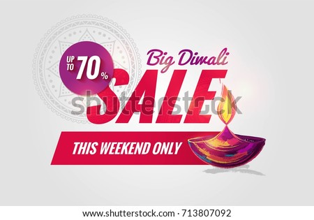 diwali sale banner in shiny purple background with golden diya l stock photo © sarts
