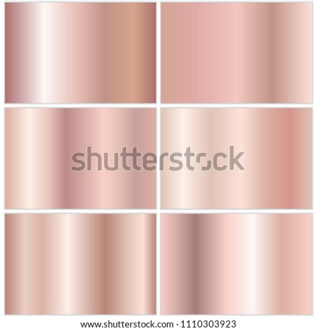 Collection of rose gold metallic gradient. Brilliant plates with golden effect. Vector illustration Stock photo © olehsvetiukha