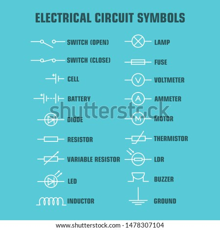 Electric and electronic circuit diagram symbols set of electrical instrumentation, meters and record Stock photo © ukasz_hampel