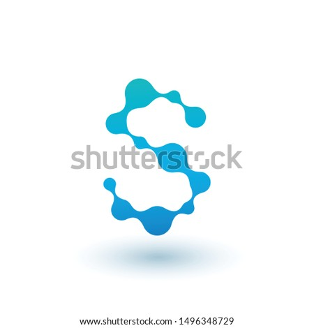 Water molecular initial Letter S Logo design, Fluid liquid Design Element with Dots and shadow. Stoc Stock photo © kyryloff