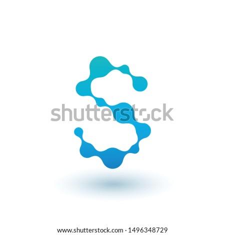 Water moleculair brief logo-ontwerp vloeistof vloeibare Stockfoto © kyryloff