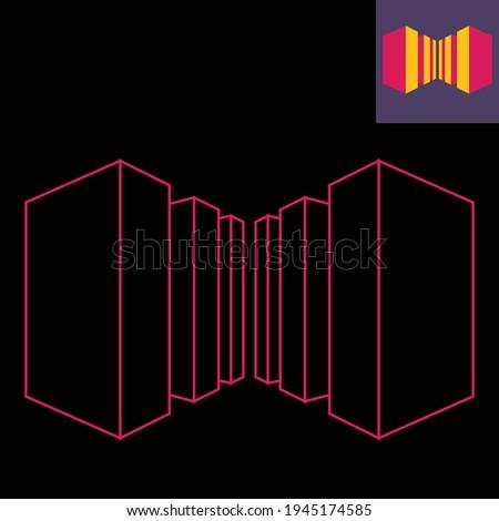 Foto stock: 3D · tridimensional · um · linha · cubo
