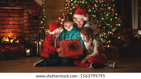 Familie christmas vakantie dozen geschenken bomen Stockfoto © ElenaBatkova
