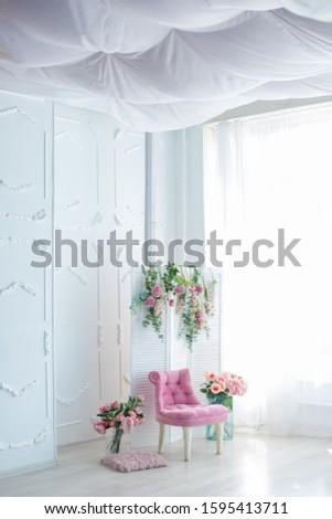 roze · landschap · mooie · fauteuil · bloemen · witte - stockfoto © ElenaBatkova