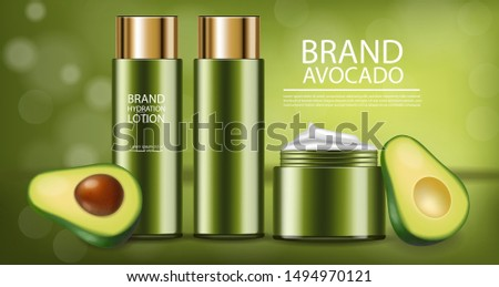 Avocado creamand lotion vector realistic. Product placement pack Stock photo © frimufilms