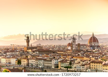 Beautiful cityscape skyline of Florence, with the bridges over the river Arno Stock photo © Zhukow