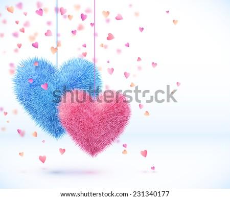 Valentin nap kártya pár piros szívek elmosódott Stock fotó © Kotenko