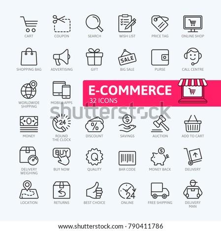 Business, e-commerce, web and shopping icons set in modern style isolated on white background. Strok Stock photo © ukasz_hampel