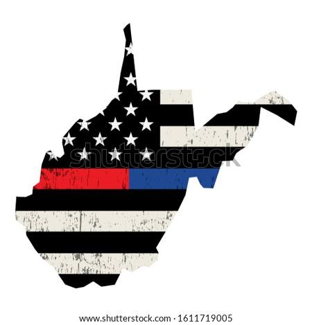 Virgínia polícia bombeiro apoiar bandeira bandeira americana Foto stock © enterlinedesign