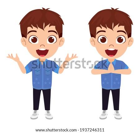 Jongen zwart haar verschillend activiteiten witte illustratie Stockfoto © bluering