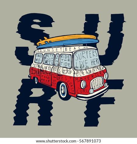 серфинга Adventure графических футболки Vintage рисованной Сток-фото © JeksonGraphics