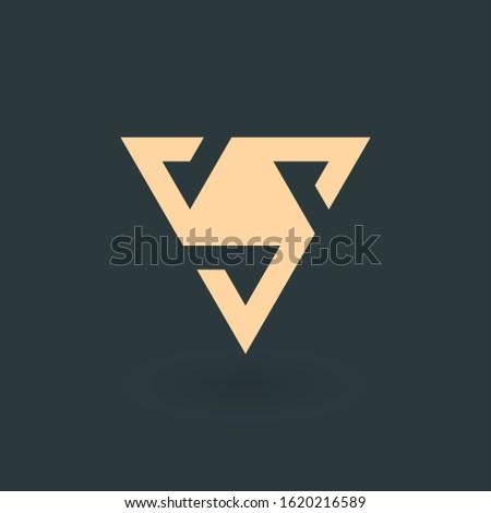 Letter V or delta pyramid geometric triangle with three stripes logo design. Trinity concept. Busine Stock photo © kyryloff