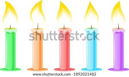 Greeting set from vertically standing birthday candles for cake. Stock photo © artjazz