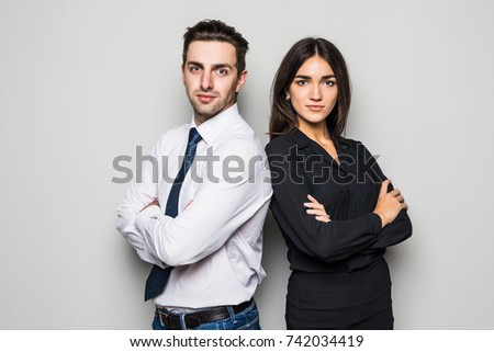 Business Partners Man and Woman Dealing People Stock photo © robuart