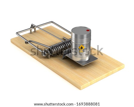metallic barrel and mousetrap on white background. Isolated 3D i Stock photo © ISerg