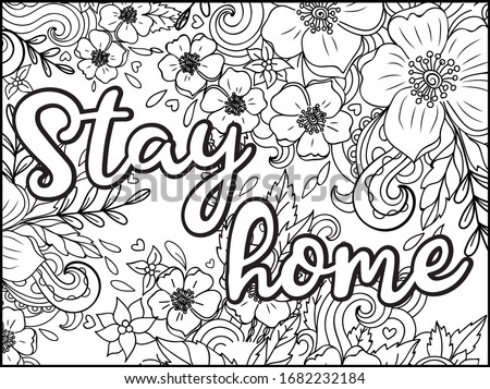 Stay home hand lettering with books and floral decoration, corona virus 2019-nCov motivation poster  Stock photo © BlueLela