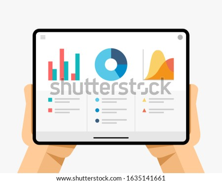 Tablet mockup in human hand. Finance report application for team work. Chart, data, diagram. EPS10 V Stock photo © karetniy