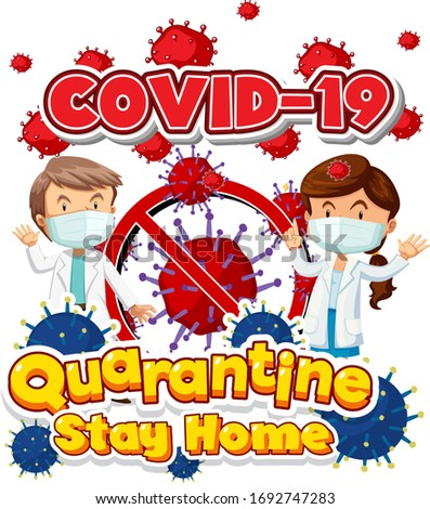 Font design for word covid-19 with two doctors and virus cells Stock photo © bluering