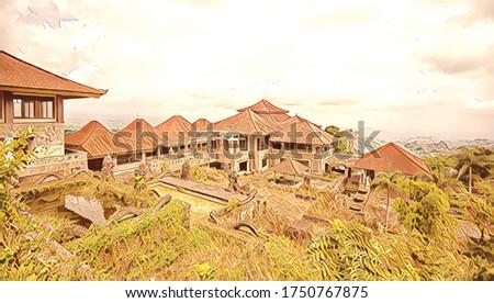 Opuszczony tajemniczy hotel Indonezja bali wyspa Zdjęcia stock © galitskaya