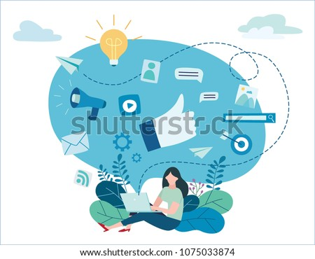Web Advertising and Education in Laptop Vector Stock photo © robuart