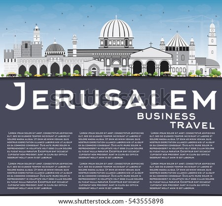 Иерусалим Skyline серый зданий Blue Sky копия пространства Сток-фото © ShustrikS