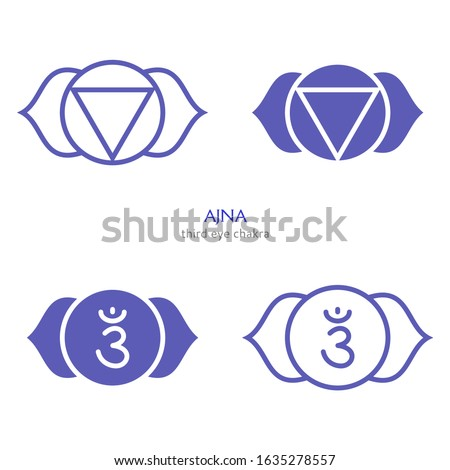 Meditating human and lotus with third eye vector logos for yoga Stock photo © ussr