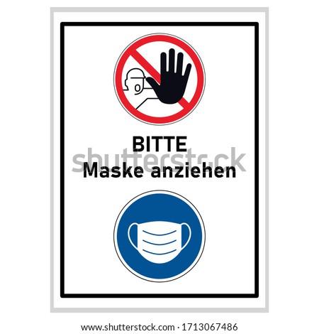 Dragen masker tekst stopteken Blauw teken Stockfoto © djdarkflower