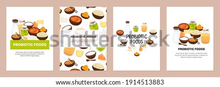 Vector backgrounds with probiotic foods. Best sources of probiotics. Beneficial bacteria improve hea Stock photo © user_10144511