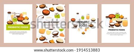 Vector backgrounds with probiotic foods. Best sources of probiotics. Beneficial bacteria improve hea Stock photo © user_10144511