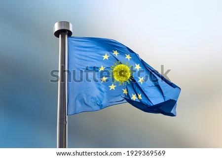 European Union flag with molecule of Coronavirus inside round from stars. Stock photo © artjazz