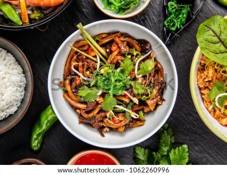 Lezzetli taze makarna tavuk sebze hizmet Stok fotoğraf © dash