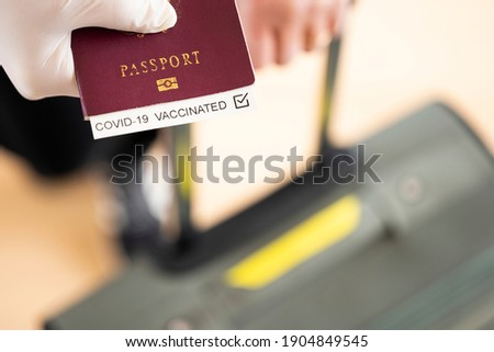 Coronavirus outbreak and travel concept. Passport in humans hand wearing rubber medical gloves, isol Stock photo © vkstudio
