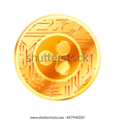 Bright golden coin with microchip pattern and Ripple sign. Cryptocurrency concept on white Stock photo © evgeny89
